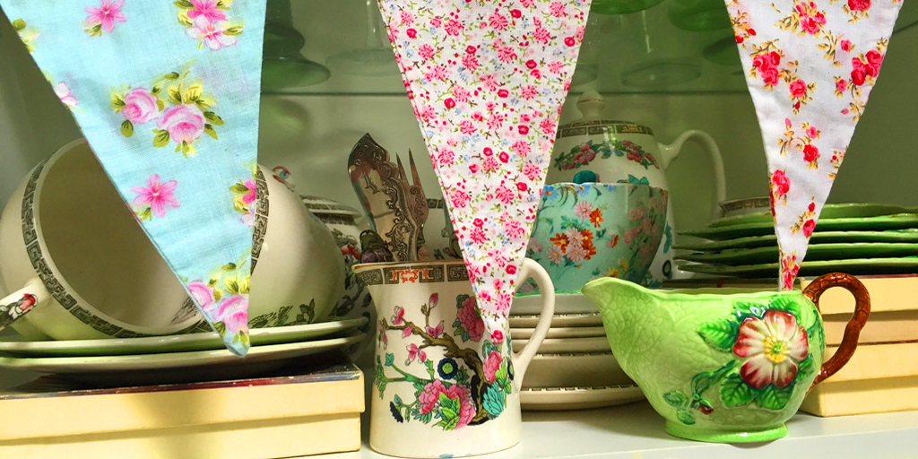 Vintage crockery and bunting